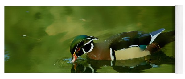 Male Wood Duck Water Reflections Yoga Mat