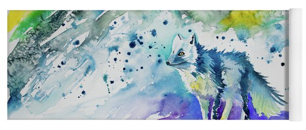 Yoga Mat featuring the painting Watercolor - Arctic Fox by Cascade Colors