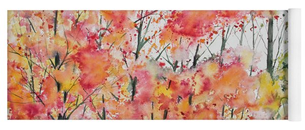 Yoga Mat featuring the painting Watercolor - Autumn Forest by Cascade Colors
