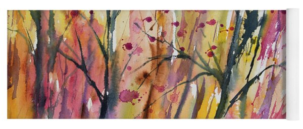Yoga Mat featuring the painting Watercolor - Autumn Forest Impression by Cascade Colors
