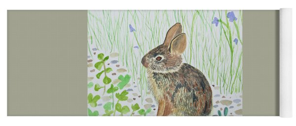 Yoga Mat featuring the painting Watercolor - Baby Bunny by Cascade Colors