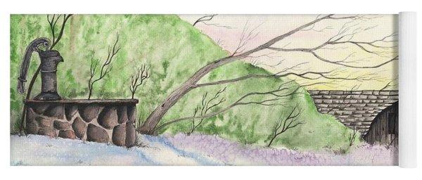 Watercolor Barn Yoga Mat