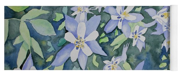 Yoga Mat featuring the painting Watercolor - Blue Columbine Wildflowers by Cascade Colors