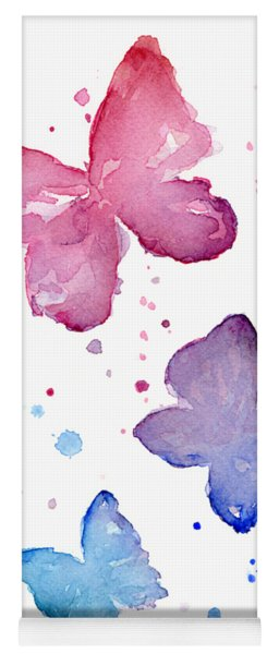 Watercolor Butterflies Yoga Mat