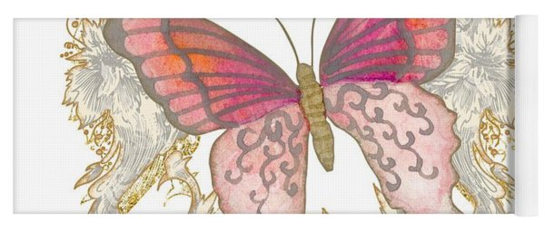 Watercolor Butterfly With Vintage Swirl Scroll Flourishes Yoga Mat