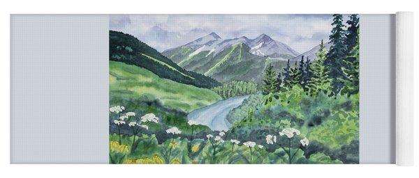 Watercolor - Colorado Summer Landscape Yoga Mat