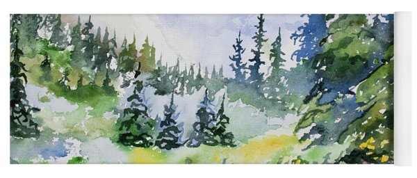 Yoga Mat featuring the painting Watercolor - Colorado Summer Scene by Cascade Colors