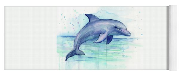 Watercolor Dolphin Painting - Facing Right Yoga Mat