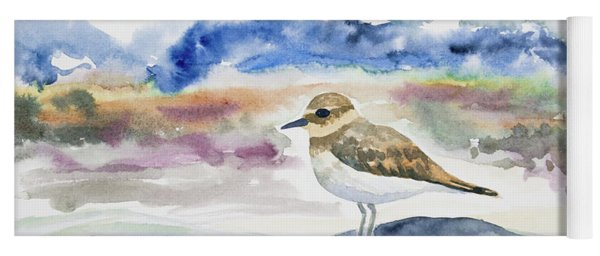 Yoga Mat featuring the painting Watercolor - Double-banded Plover On The Beach by Cascade Colors