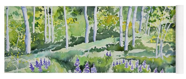 Watercolor - Early Summer Aspen And Lupine Yoga Mat