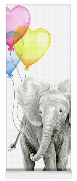 Watercolor Elephant With Heart Shaped Balloons Yoga Mat