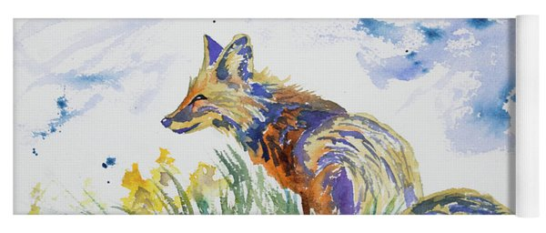 Yoga Mat featuring the painting Watercolor - Fox On The Lookout by Cascade Colors
