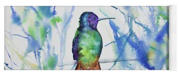 Yoga Mat featuring the painting Watercolor - Golden-tailed Sapphire by Cascade Colors