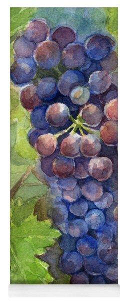 Watercolor Grapes Painting Yoga Mat