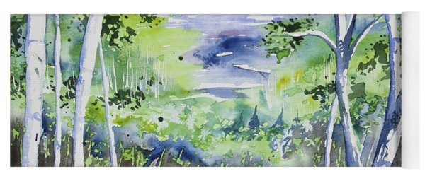 Yoga Mat featuring the painting Watercolor - Lake Superior Impression by Cascade Colors