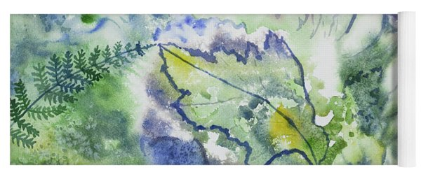 Watercolor - Leaves And Textures Of Nature Yoga Mat
