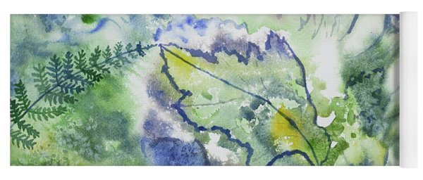 Yoga Mat featuring the painting Watercolor - Leaves And Textures Of Nature by Cascade Colors