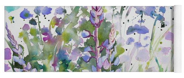 Watercolor - Lupine Wildflowers Yoga Mat