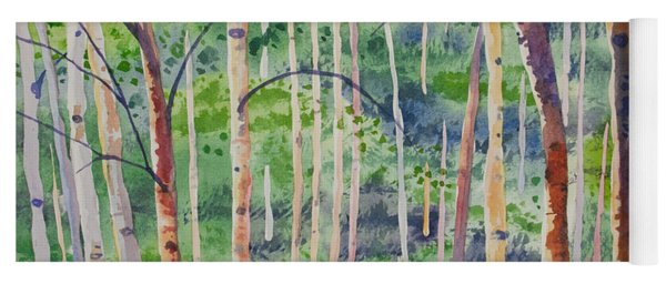 Watercolor - Magical Aspen Forest After A Spring Rain Yoga Mat