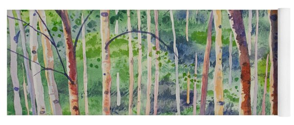 Yoga Mat featuring the painting Watercolor - Magical Aspen Forest After A Spring Rain by Cascade Colors