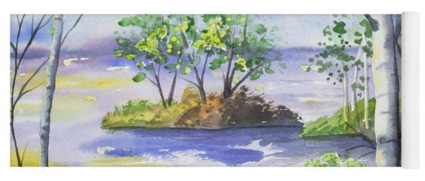 Yoga Mat featuring the painting Watercolor - Minnesota North Shore Landscape by Cascade Colors
