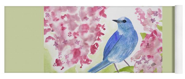 Yoga Mat featuring the painting Watercolor - Mountain Bluebird by Cascade Colors