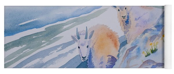Yoga Mat featuring the painting Watercolor - Mountain Goats On Quandary by Cascade Colors