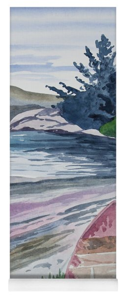 Yoga Mat featuring the painting Watercolor - New Zealand Harbor by Cascade Colors