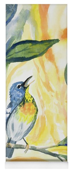 Yoga Mat featuring the painting Watercolor - Northern Parula In Song by Cascade Colors