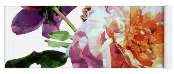 Watercolor Of Two Roses In Pink And Violet On One Stem That  I Dedicate To Jacques Brel Yoga Mat