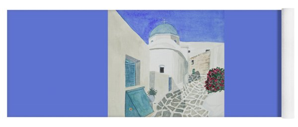 Yoga Mat featuring the painting Watercolor - Paros Church And Street Scene by Cascade Colors