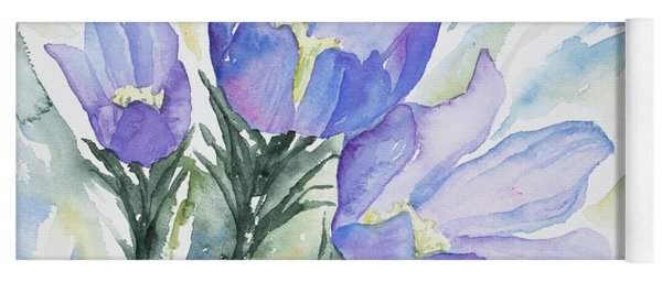Yoga Mat featuring the painting Watercolor - Pasque Flowers by Cascade Colors