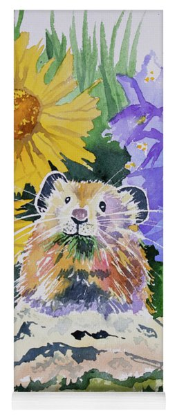 Yoga Mat featuring the painting Watercolor - Pika With Wildflowers by Cascade Colors