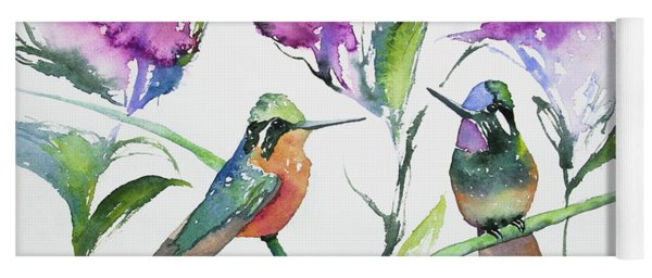 Yoga Mat featuring the painting Watercolor - Purple-throated Mountain Gems And Flowers by Cascade Colors