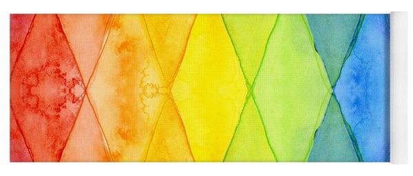 Watercolor Rainbow Pattern Geometric Shapes Triangles Yoga Mat