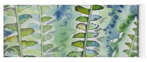 Yoga Mat featuring the painting Watercolor - Rainforest Fern Impressions by Cascade Colors