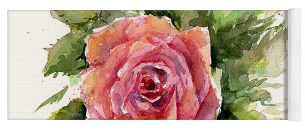 Watercolor Rose Yoga Mat