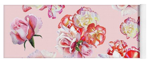 Watercolor Roses Pink Dance Yoga Mat