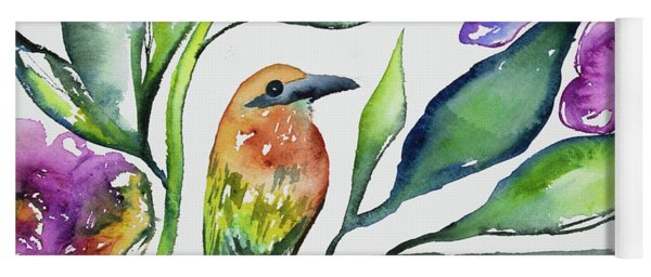 Yoga Mat featuring the painting Watercolor - Rufous Motmot by Cascade Colors