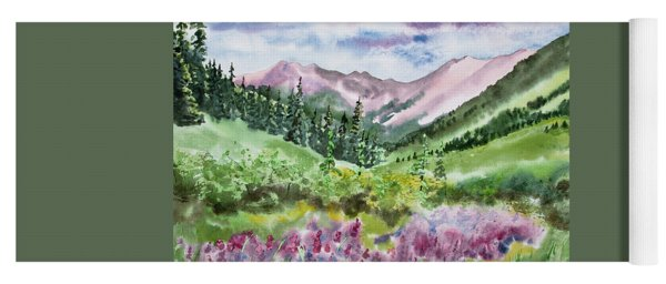 Yoga Mat featuring the painting Watercolor - San Juans Mountain Landscape by Cascade Colors