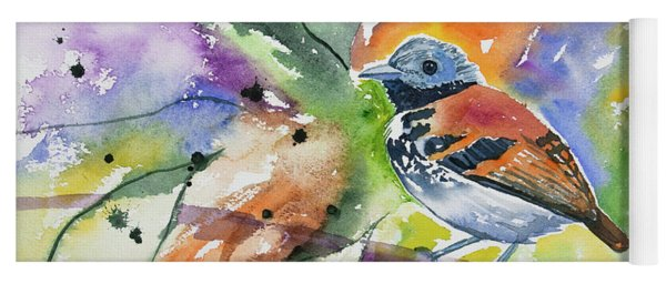 Yoga Mat featuring the painting Watercolor - Spotted Antbird by Cascade Colors
