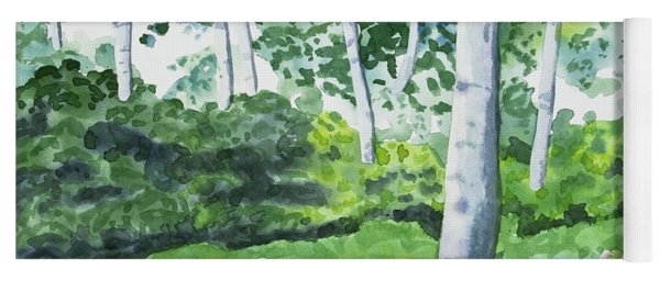 Yoga Mat featuring the painting Watercolor - Spring Forest And Flowers by Cascade Colors