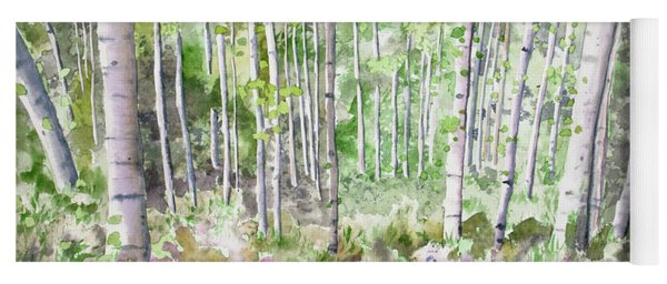 Yoga Mat featuring the painting Watercolor - Summer Aspen Glade by Cascade Colors