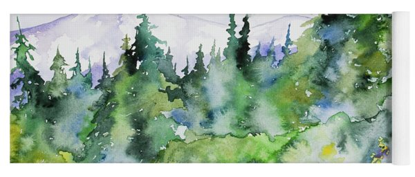 Yoga Mat featuring the painting Watercolor - Summer In The Rockies by Cascade Colors