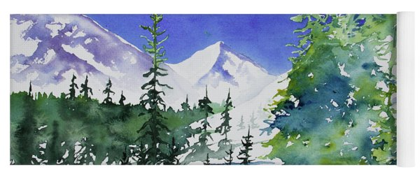 Yoga Mat featuring the painting Watercolor - Sunny Winter Day In The Mountains by Cascade Colors