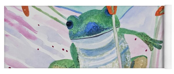 Yoga Mat featuring the painting Watercolor - Tree Frog by Cascade Colors