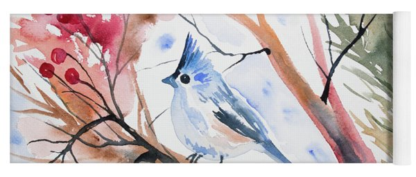 Watercolor - Tufted Titmouse With Winter Berries Yoga Mat
