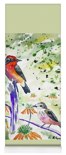 Yoga Mat featuring the painting Watercolor - Vermilion Flycatcher Pair In Quito by Cascade Colors