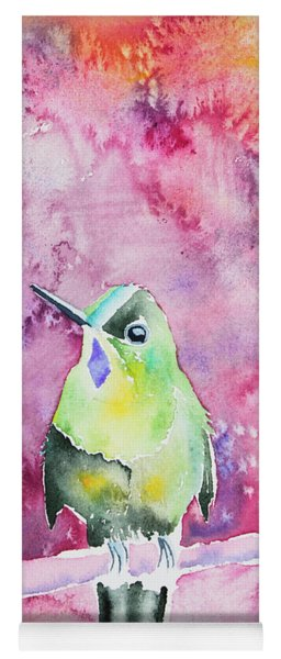 Yoga Mat featuring the painting Watercolor - Violet-tailed Sylph by Cascade Colors