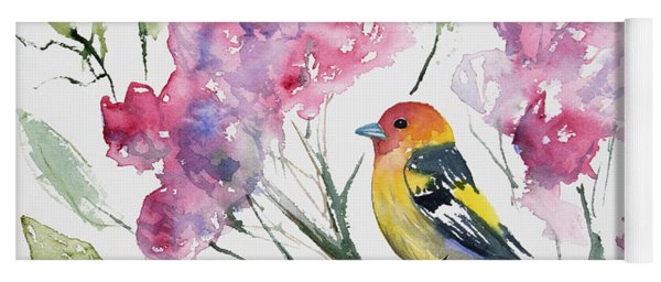 Watercolor - Western Tanager In A Flowering Tree Yoga Mat